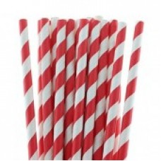 Paper Straws Red Stripe (8mm diameter)