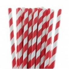 Paper Straws Red Stripe (8mm diameter)